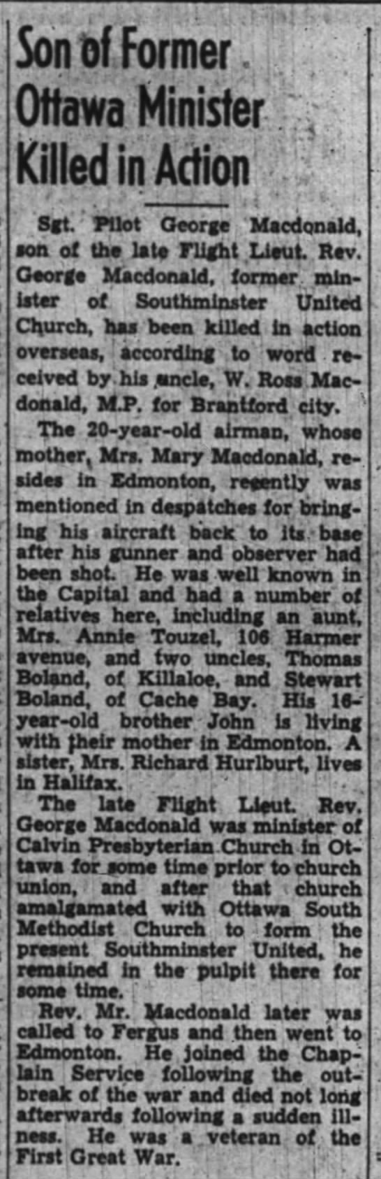 Son of Former Ottawa Minister Killed in Action - Sgt. Pilot George Macdonald -