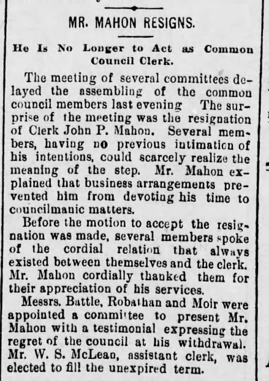 John P Mahon Resigns Scr Rep Nov 23 1894 pg 3 -