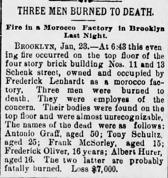 Frank McSorley, age 15 died - THREE MEN BURNED TO DEATH. Fire In a Morocco...