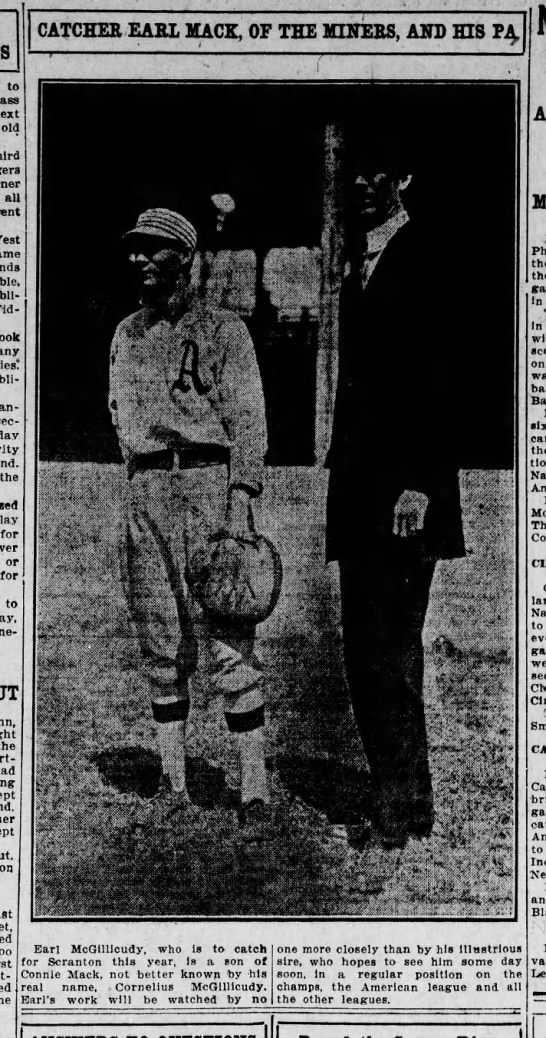 Earl Mack 1911 photo  played for Scranton (with his Dad) -
