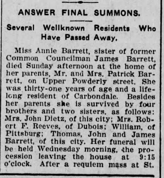 Annie Barrett 1906 Scranton Republican - ANSWER FINAL SUMMONS. Several Wellknown...