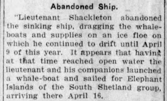 Shackleton and crew abandon ship -