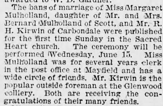 Margaret Mulholland's Marriage Announcement - The bans of marriage of Miss (Margaret...