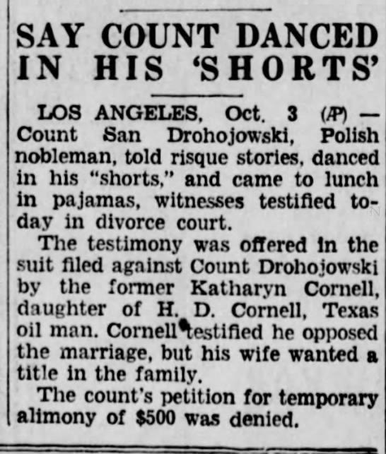 Jan Drohojowski/Kathryn Cornell divorce 1935 -