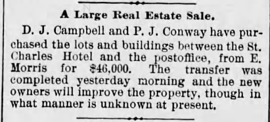 DJ Campbell real estate purchase $46K N Wash Ave Scr Rep Sept 3 1889 pg 3 -