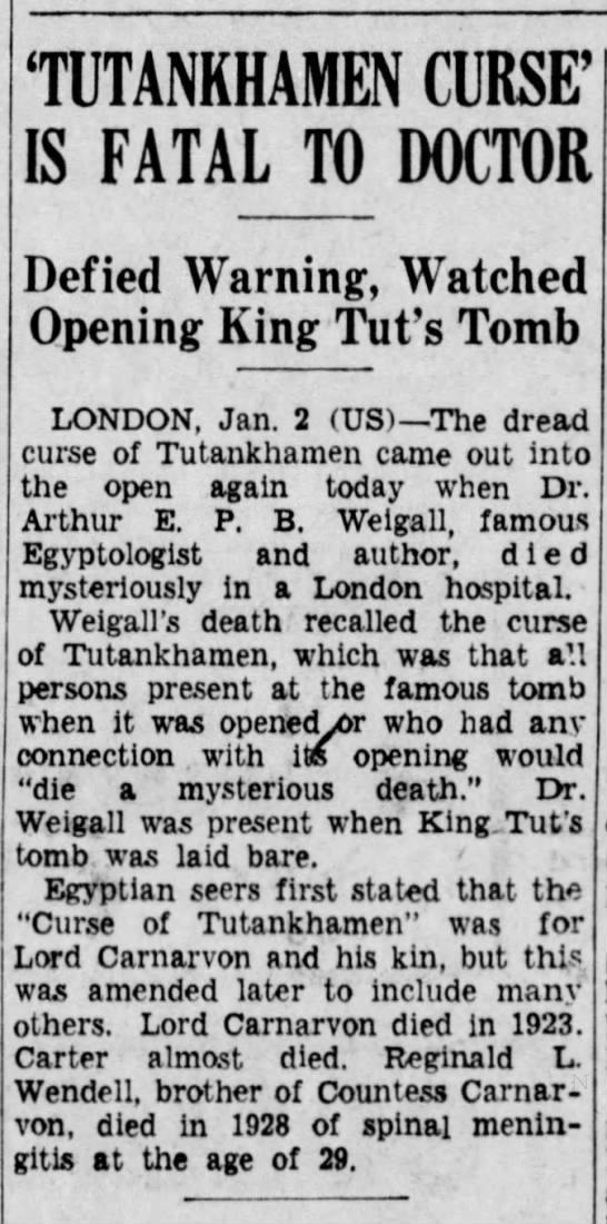 Tutankhamen Curse is Fatal to Doctor (1934) -