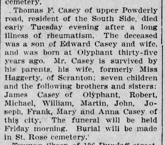 Thomas F. Casey, son of Edward Raymond Casey  -