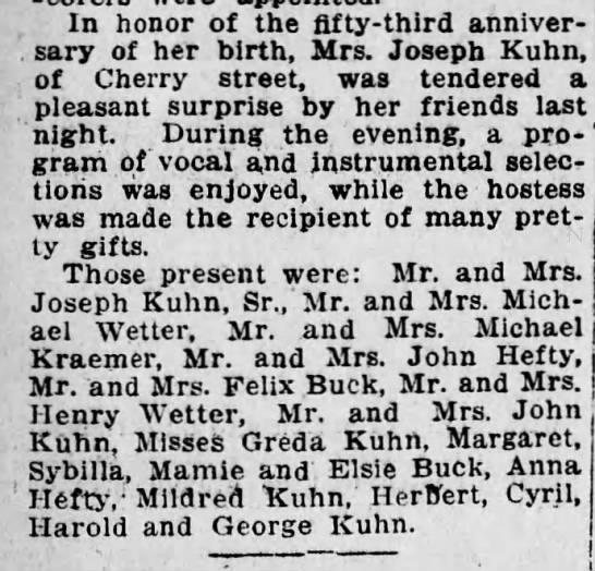 Mrs. Joseph Kunz's 53rd Birthday -