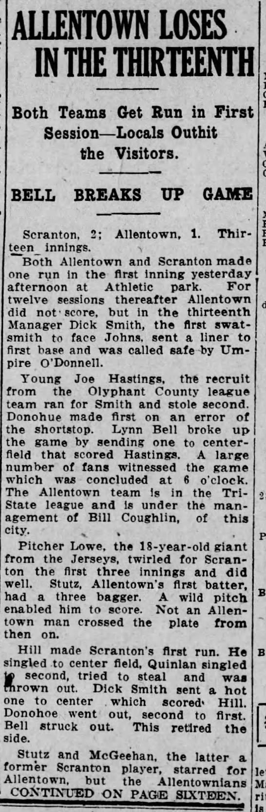 Allentown loses to Scranton 1913  Joe Hastings -