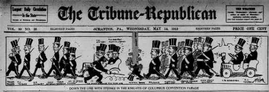 Steinke K of C Conv Parade Scr Rep May 14 1913 pg 1 -