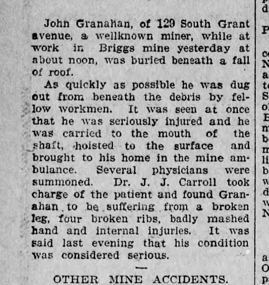 John Granahan Injured beneath a fall of roof. 1903 -