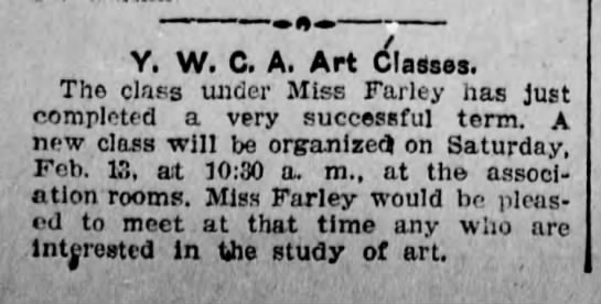 Sarah Leona Farley completes art class at YWCA Scr Rep Feb 12 1904 pg 7 -