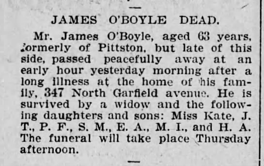 James O'Boyle aug27,1902 (Scranton Repbulican) clip -