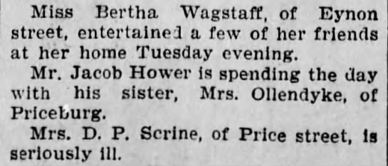 Annie Hower Ollendyke - Miss Bertha Wagstaff, of Eynon street,...