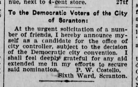 PWC Announces Candidacy for City Controller Scr Rep Jan 8 1902 pg 3 -
