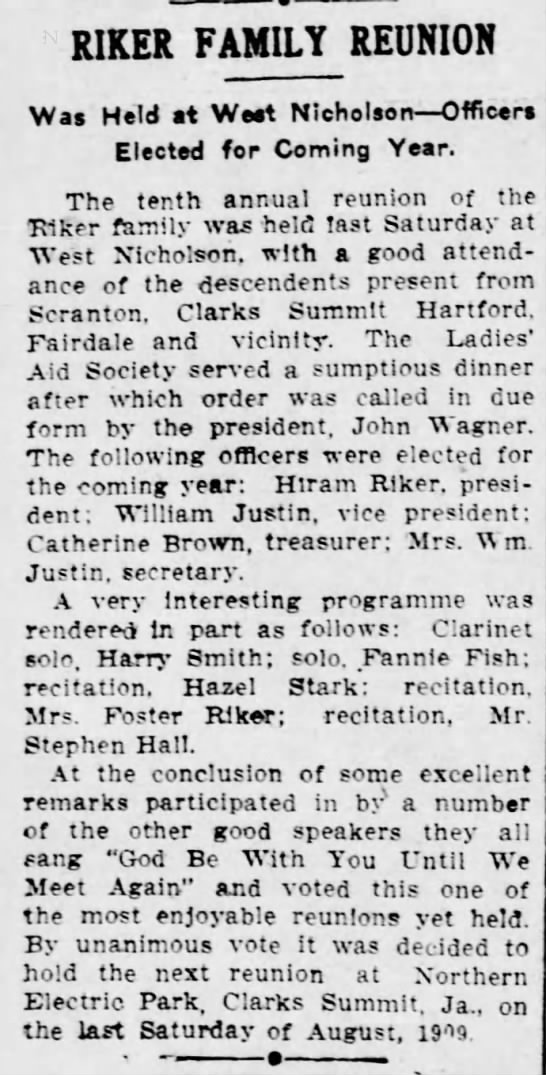 Tenth anual Riker reunion