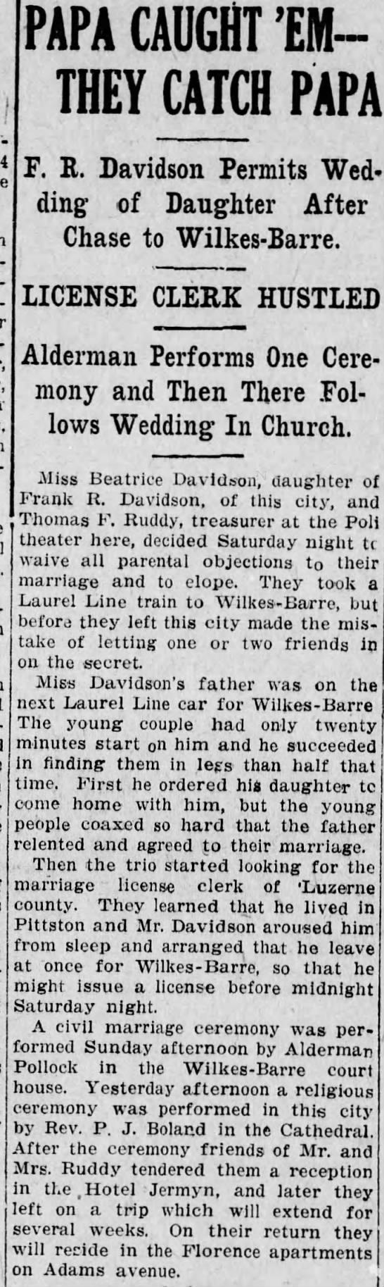 BeatriceDavidson Elopement1910 -
