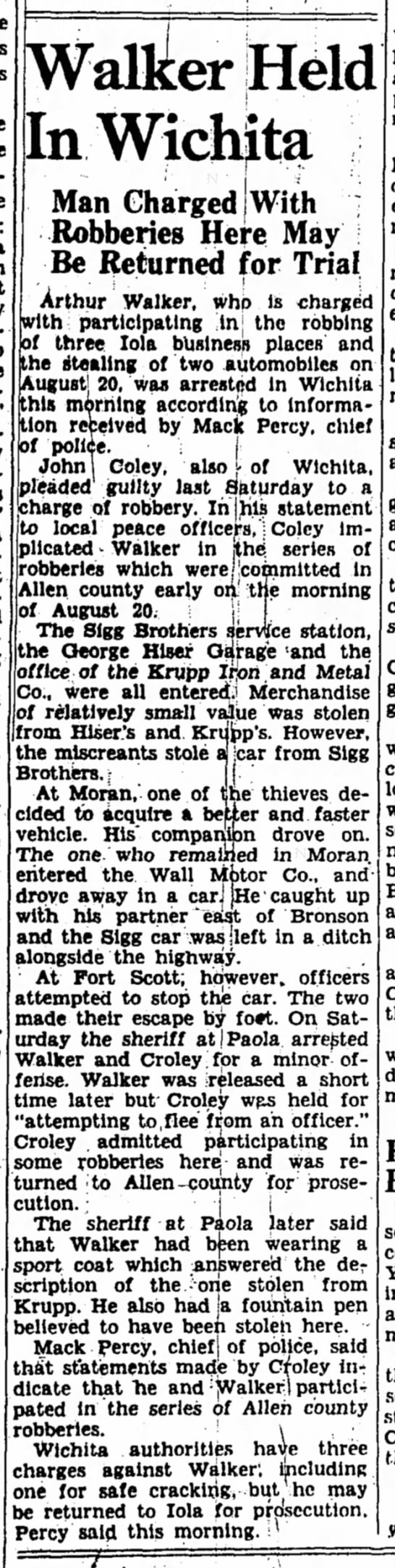 Sigg Brothers Service Station - Stolen Car -