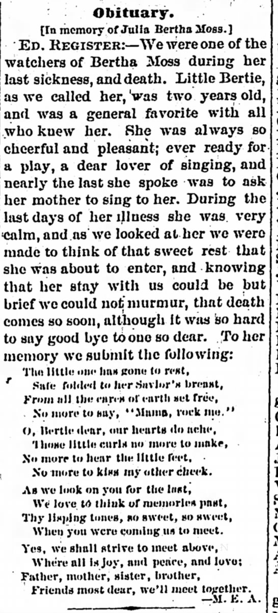 Bertha Moss Obituary - The Iola Register 2 June 1882 Page 1 -