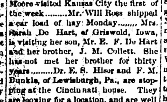 Sarah De Hart of Griswold IA visits son E. F. DeHart and brother J. M. Collett -