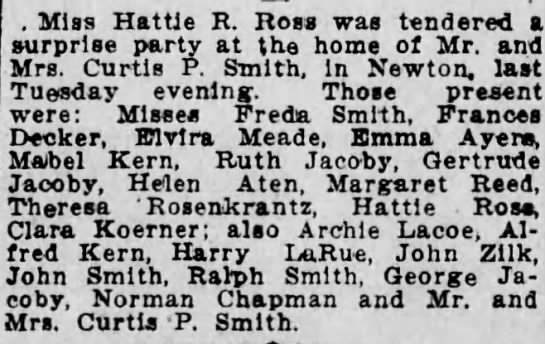 Hattie R. Ross party at Mr. and Mrs. Curtis P. Smith -