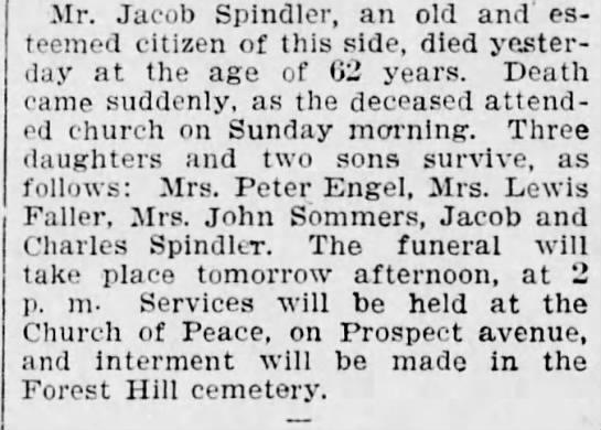 - Mr. Jacob Spindler, an old and' esteemed...