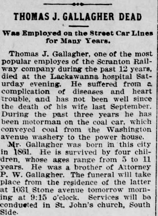 Gallagher Thomas J 1900 obit, related? - THOMAS J. GALLAGHER DEAD Wm Employed on the...