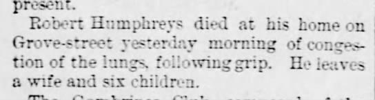 Robert Humphreys Dies -