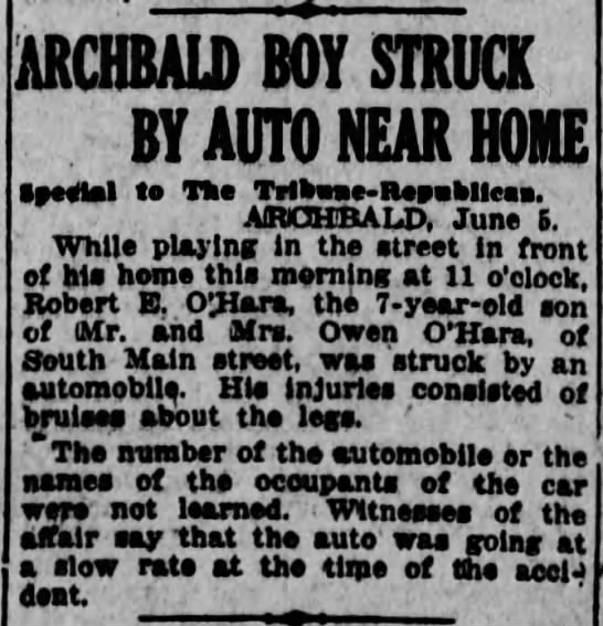 Robert O'Hara Hit by Car1914 -