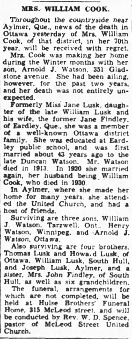 Death of Mrs. William Cook (Jane Lusk) -