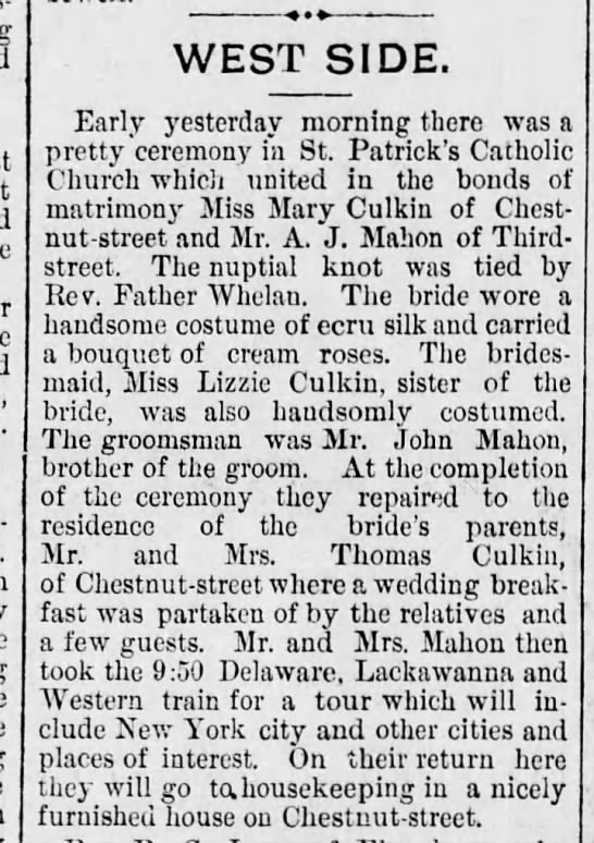Anthony J. Mahon & Mary Culkin wedding Scr Rep June 10 1892 pg 3 -