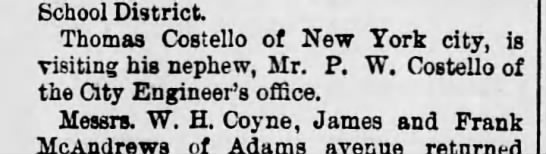 PWC Visit from uncle Thomas Costello of NY City Scr Rep June 24 1893 pg 5 -