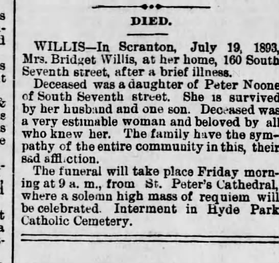 bridget willis, daughter of peter noone ???20 july 1893 -