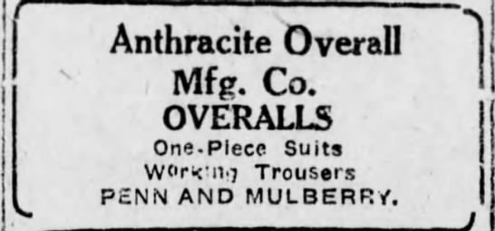 Ahtracite Overall Mfg Co ad -