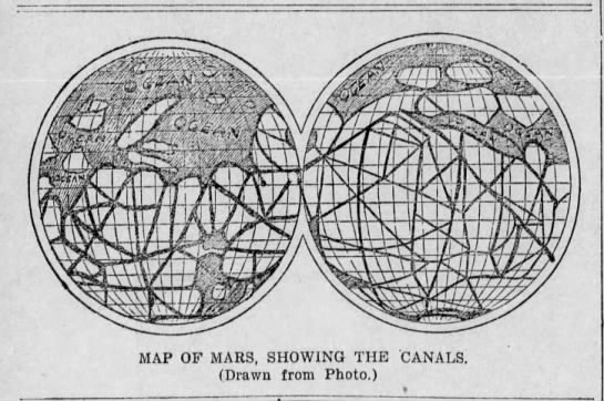 Map of Mars canals, 1898 -