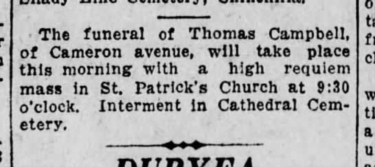 Funeral Thomas Campbell TSR 19 April 1926 page 12 -