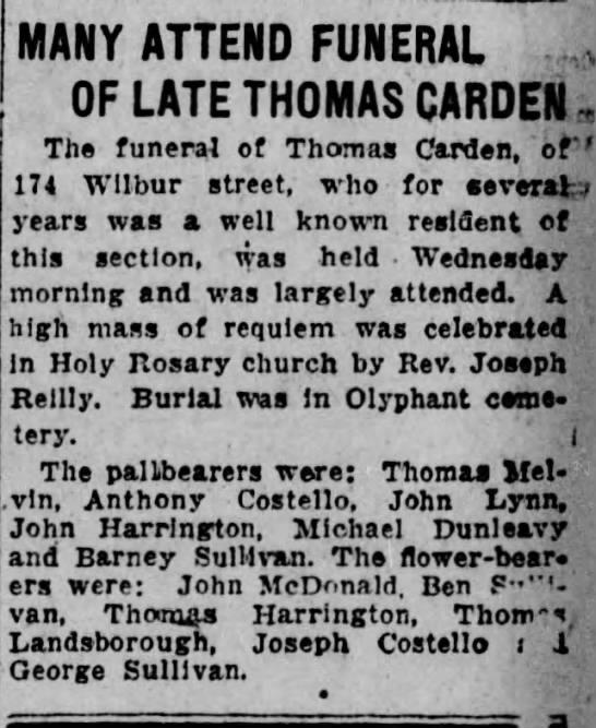 3-28-1934 anthony costello pallbearer and george sullivan -