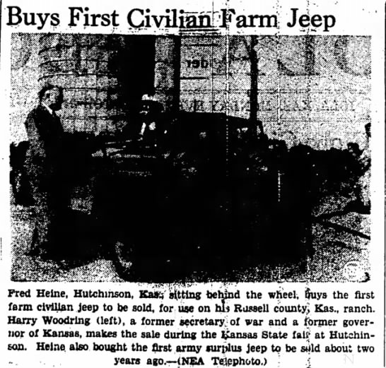 Fred Heine Buys First Civilian Jeep -