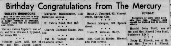 1958 Pat Varney birthday congratulations from the newspaper (!) -