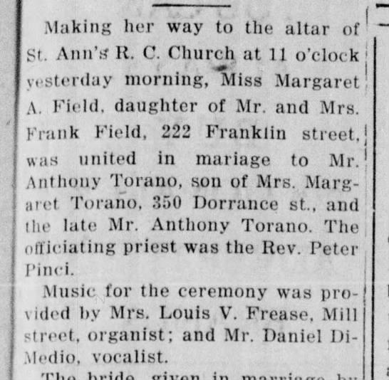 Anthony Torano, son of Margaret Torano 350 Dorrance St (late Anthony Torano) 4.19.1953 -