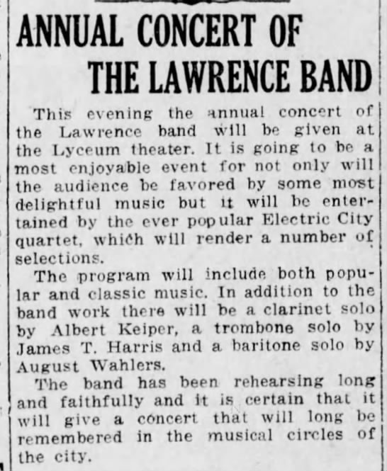 JTH 1915 concert lawrence band -