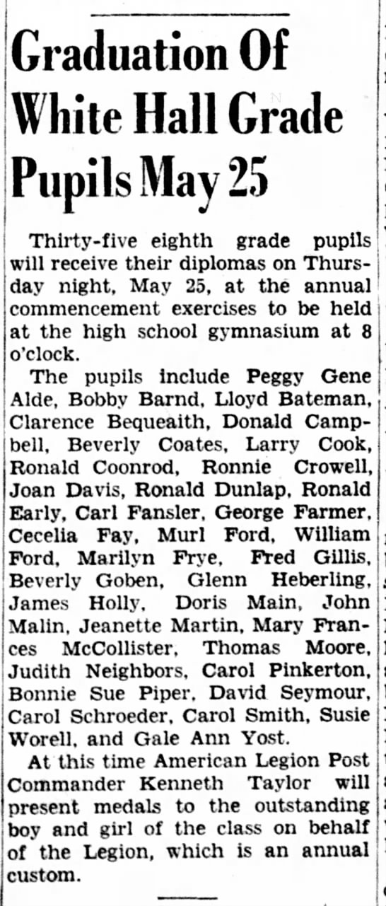 Clarence eighth grade graduation -