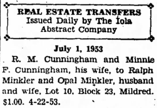 Real Estate Transfer from Cunningham to Minkler, 1 July 1953, for $1 -
