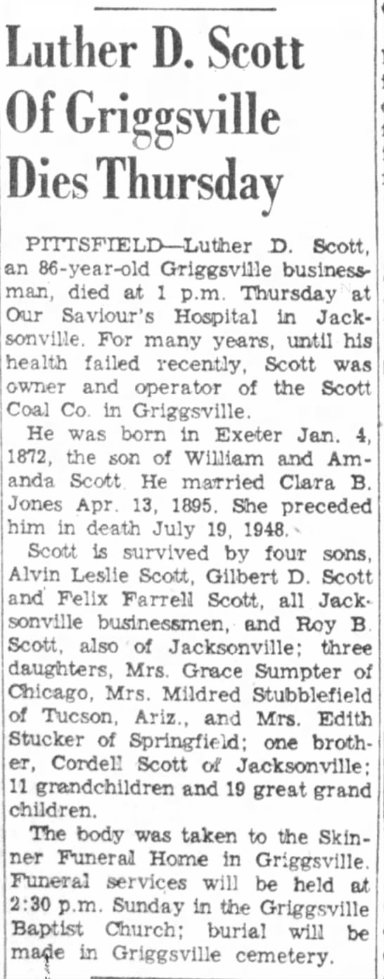 Scott, Luther D obit  Jacksonville Daily Journal 10 Feb 1956 page 10 -
