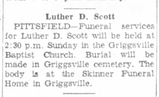 Scott, Luther D obit Jacksonville Daily Journal 11 Feb 1956 page 14 -