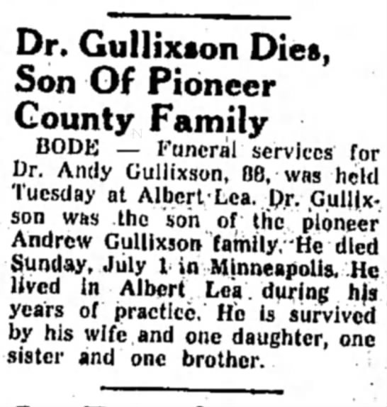 - '. Gullixson Dies, Son Of Pioneer County Family...