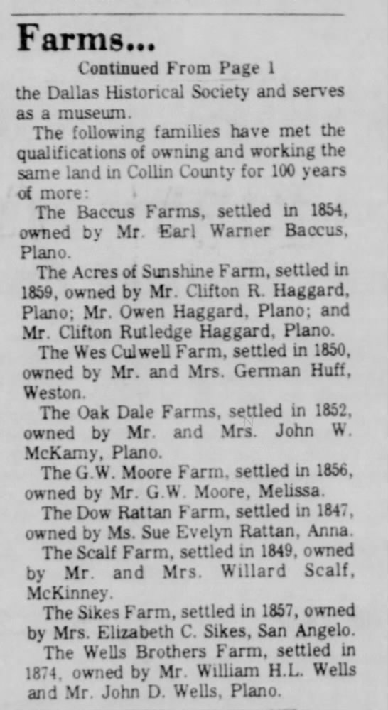Farms :Collin County - Farms... Continued From Page I the Dallas...