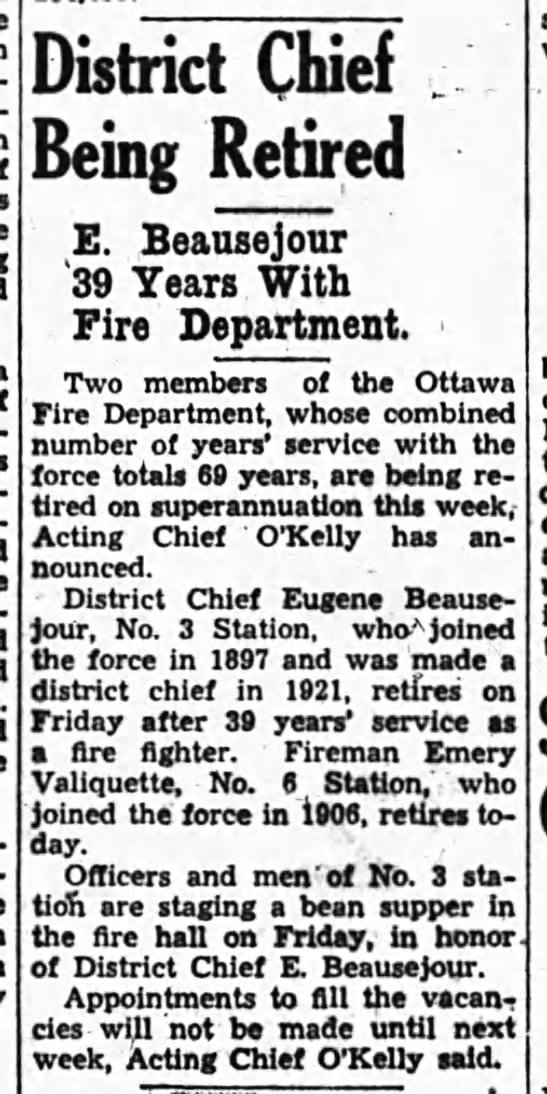 District Chief Eugene Beausejour retired Nov 4 1936 -