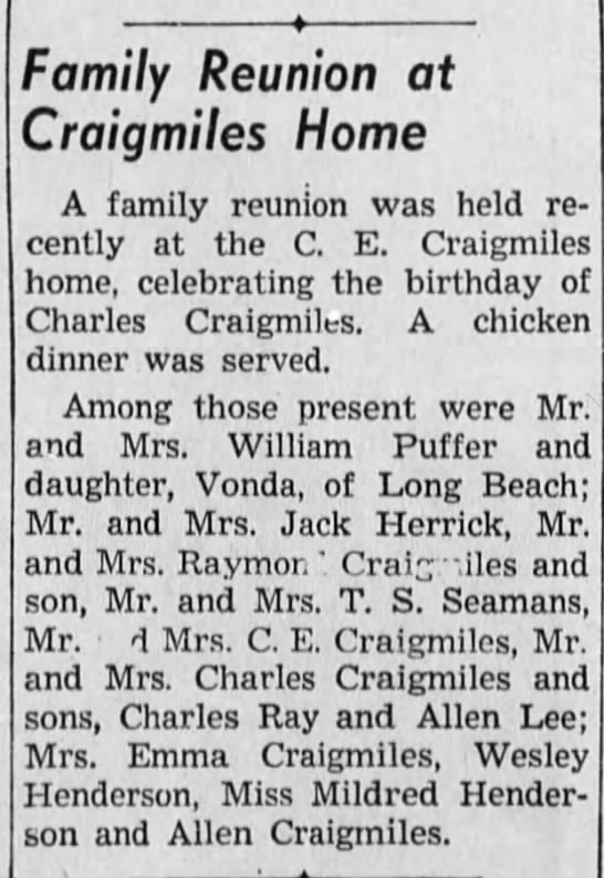 Birthday party for Charles  Craigmiles.  It was either for Chuck or his father Charles L. -