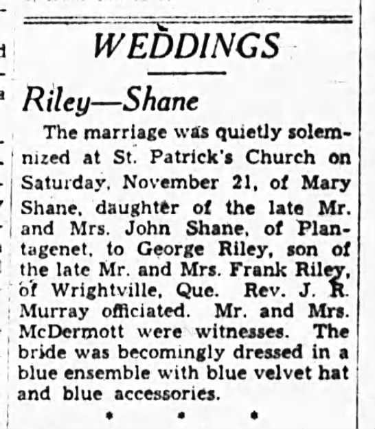 George Riley marriage